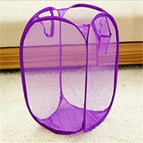 Candy Color Nylon Mesh Fabric Foldable Large Laundry Basket Household Dirty Clothes Bag Washing Child Toy Storage Organization^purple