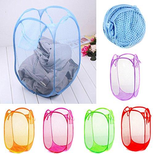 Nylon Mesh Fabric Foldable Large Laundry Basket Household Dirty Clothes Bag Washing Child Toy Storage Organization^light blue