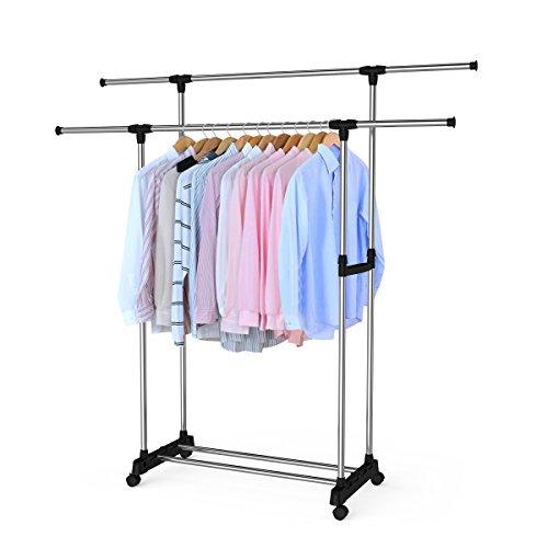 BESTOMZ Clothes Rack Double Rail Adjustable Telescopic Rolling Garment Rack