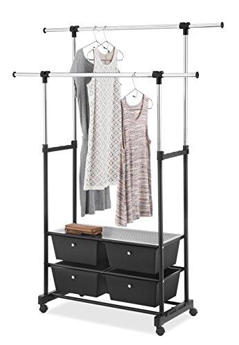 Whitmor Rolling Garment Rack w Drawers