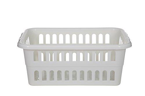 Whitefurze Rectangular Laundry Basket Cream by Whitefurze