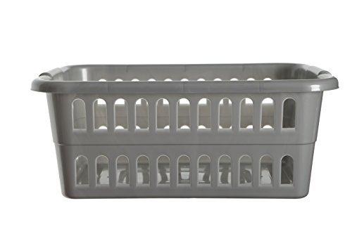Whitefurze Rectangular Laundry Basket Silver 59cm by Whitefurze