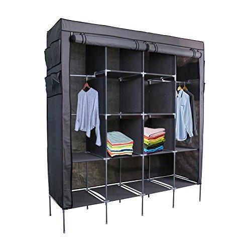 Smart-Home 69 Clothes Closet Portable Wardrobe Clothes Storage Rack 12 Shelves 4 Side Pockets Grey 69 14 x 17 x 65 LxHxD