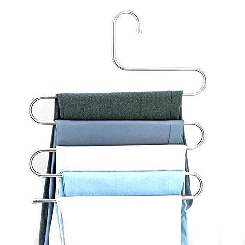 UNKE Pants Hanger Multipurpose Pants Clothes Storage Rack Jeans Scarf Hanger Necktie Organizer Belt Holder Hook - Stainless Steel Rust Proof S-Shaped 5 Tier