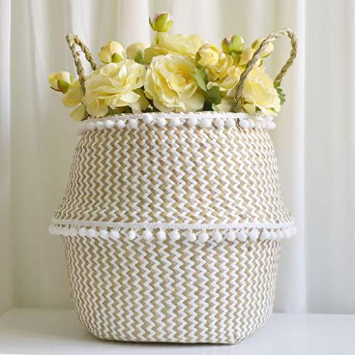 Seagrass Basket Large Flower Pot Folding Basket Laundry Tote Bag with Handles Dirty Basket Storage Laundry Picnic Plant B27×24cm