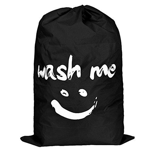 Lovife Nylon Cloth Drawstring Foldable Laundry Storage Bag Hamper Basket Portable Black1