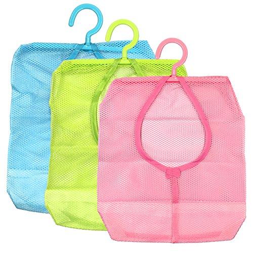 MoMaek Hanging Mesh Bag Bathroom Shower Storage Organizer Set Hamper Bag Closet Rack Clothes Clip Collection Bag Laundry Basket rackPack of 3-bluegreenpink