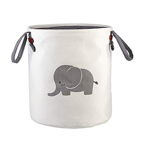 Large Sized Foldable Laundry Hamper Bucket Dirty Clothes Laundry Basket Bin Storage Organizer for Toy CollectionCanvas Storage Basket with Stylish Cartoon Design Grey Baby Elephant