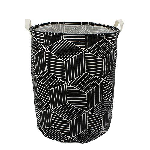 Mziart 197 Large Geometric Printed Foldable Laundry Hamper Bag Laundry Basket Sorter Canvas Fabric Storage Basket Bin Home Organizer Containers for Nursery Baby Kids Toys Black Diamond