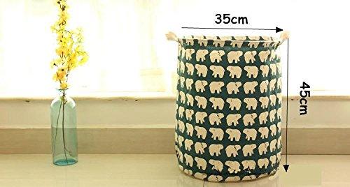 Dia35H45cm COTTON&LINEN Fabric Laundry Bag Laundry Basket Hamper Toies Snacks Storage Basket With Handles