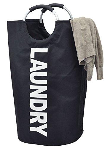 PuTwo Foldable Laundry Basket Fabric Laundry Bag Large Laundry Hamper Washing Bag with Handles -Black