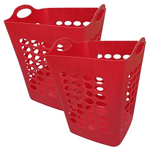 Starplast Flexible Square Laundry Hamper Baskets - Red 2 Pack