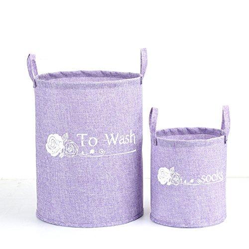 Ding billion Solid Foldable Linen Laundry Hamper Baskets Clothes Hamper 2 Pack Violet