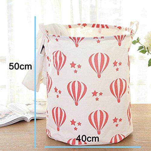 Yiuswoy Foldable Cotton Linen Laundry Hamper Washing Clothing Bags Kids Toys Organiser Storage Basket Large Storage Bin - Hot Air Balloon