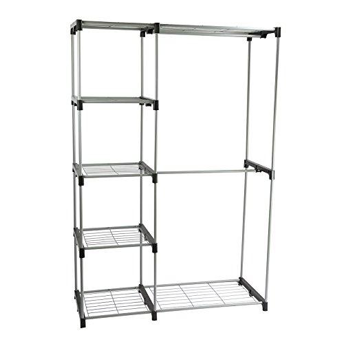"Smart-Home Closet Portable Clothes Hanger Garment Organizer Storage Rack Shelf Rod Sliver 44 34""L x 18""W x 67 34"" H"
