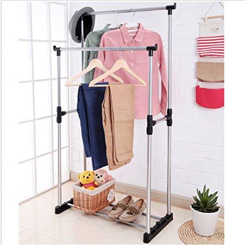 USA Premium Store Double Heavy Duty Rail Portable Clothes Hanger Rolling Garment Rack Adjustable