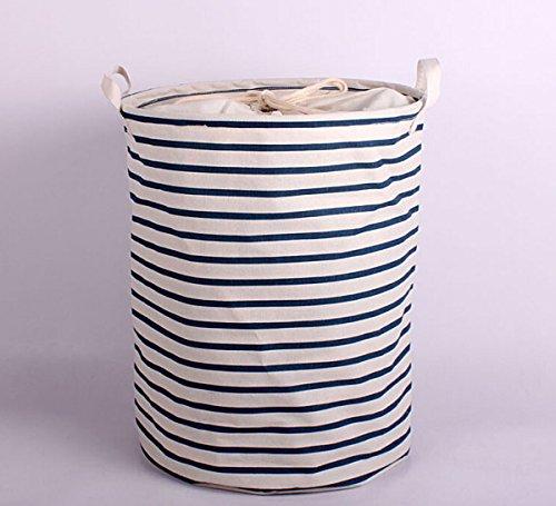 Blue Waterproof Coating Ramie Cotton Fabric Folding Laundry Hamper Storage BasketDirty Clothes Hamper Basket,Baby Toys Basket 3540cm