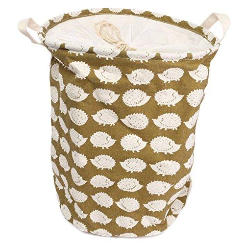 Fabric Foldable Round Cotton Fabric Folding Laundry Hamper Storage Basket Dirty Clothes Hamper Basket-Type D