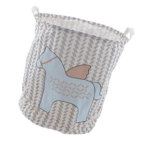 MonkeyJack Cute Horse Pattern Large Round Linen Cotton Fabric Folding Laundry Basket Hamper Clothes Organizer Storage Bin Bag 40cm x 50cm 3 Colors - 2