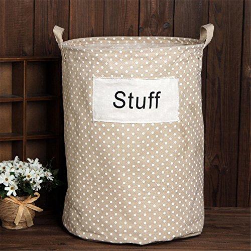 Yiliag Polka Dot Pattern Laundry Hamper Ditry Clothes Laundry Basket Bin Toy Storage Bag-Stuff No Lid