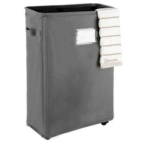 Caroeas 22 Slim Rolling Laundry Basket with Card Waterproof Laundry Storage Hamper Corner Fittable Storage Bag Collapsible Rolling Hamper Flexible Laundry Bag On Wheel For HomeOffice Slim 22Grey