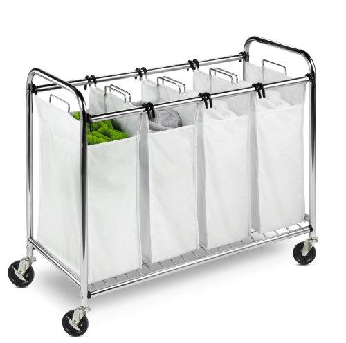 Honey-Can-Do Heavy Duty Quad Rolling Laundry Sorter Hamper ChromeWhite