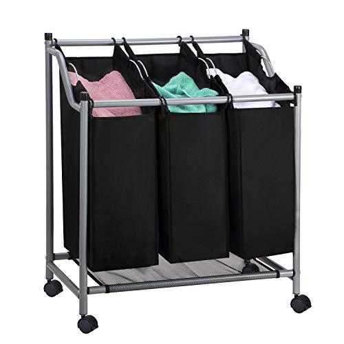 SHAREWIN Rolling Laundry Hamper Sorter Cart Hanging Bar Heavy-Duty on Wheels Black3