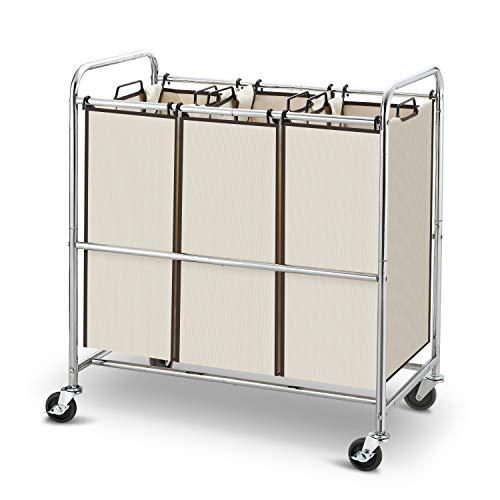Simple Trending Heavy Duty 3-Bag Laundry Hamper Sorter Cart with Rolling Wheels Chrome