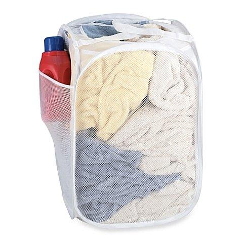 Pop-Up Mesh Laundry Hamper in White