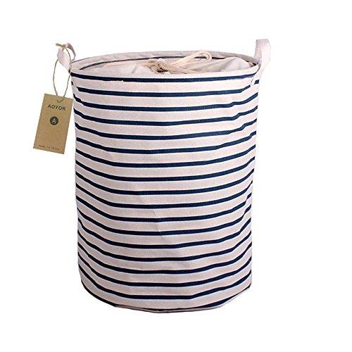 Printed Ramie Cotton Fabric Folding Laundry Storage Basket Toy Laundry Hamper with Handle Navy White Stripe