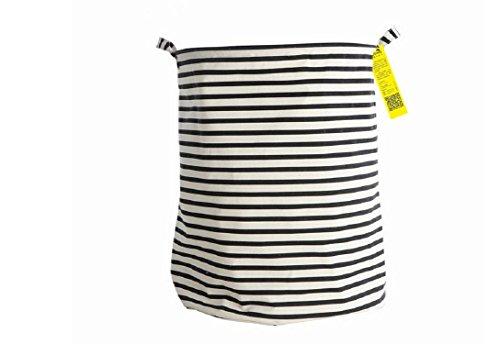 Waterproof Coating Ramie Cotton Fabric Folding Laundry Hamper Bucket Cylindric Burlap Canvas Storage Basket with Stylish Black White Stripe Design 197 Large SizedBlack White Stripe