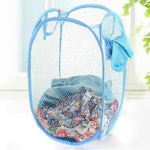 2PCS Foldable Wash Clothes Storage Bin Portable Laundry Basket Pop Up Mesh HamperRandom Color