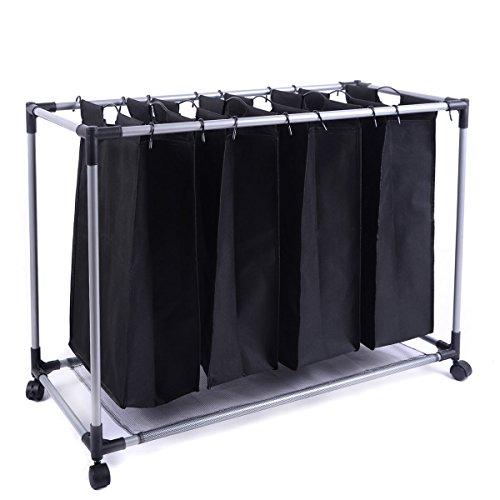 4 Bag Laundry Sorter Hamper Clothes Organizer Black Heavy-Duty