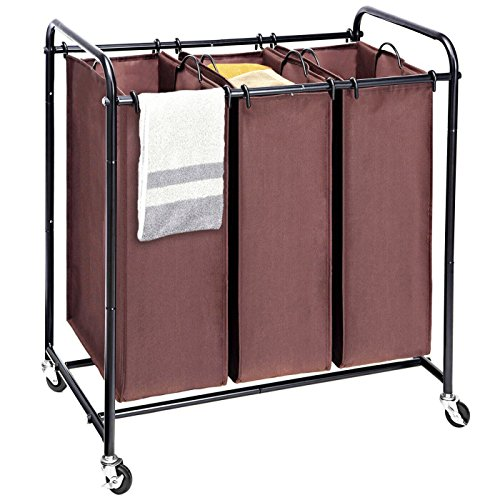 Laundry Sorter MaidMAX Metal Rolling Heavy-Duty Triple Laundry Hamper Cart Basket with 3 Removable Bags and 4 Wheels 2 Lockable Brown