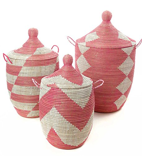Set of Three Mixed Pattern Pink White African Woven Hampers