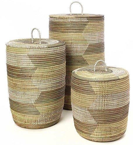 Set of Three Sahara Woven Hamper Baskets