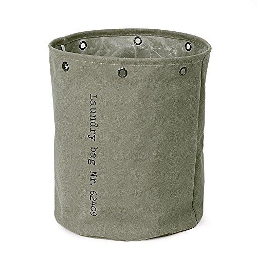 Baibu Cotton Round Laundry BasketWater Resistance Hampers for Bedroom Large Size Canvas Storage Bin for NurseryDormCloset Clothes Storage Dark Green