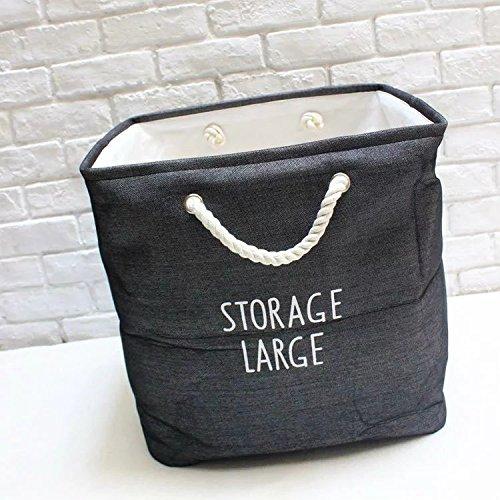 Luckyfree Laundry Basket Cotton Linen Dirty Clothes Basket Toys Debris Snack Storage Basket 40 40 30Cm Dark Gray