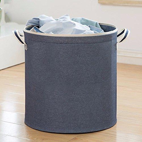 Luckyfree Laundry Basket Cotton Linen Dirty Clothes Basket Toys Debris Snack Storage Basket Dark Blue