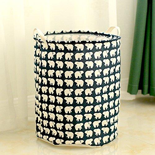 Luckyfree Laundry Basket Cotton Linen Dirty Clothes Basket Toys Debris Snack Storage Basket Dark Blue D 40 50Cm