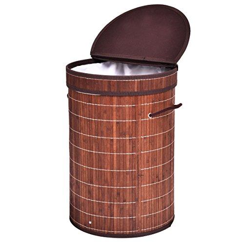 Giantex Round Bamboo Hamper Laundry Basket With Folding Lid Washing Cloth Organizer Storage Bag Brown