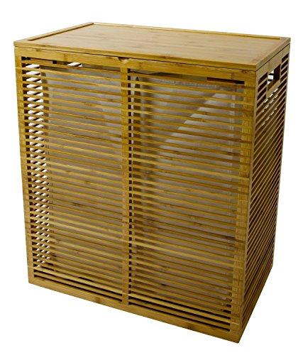 Open Slats Bamboo Hamper Plus Lid w Removable Canvas Liner Dual Sort