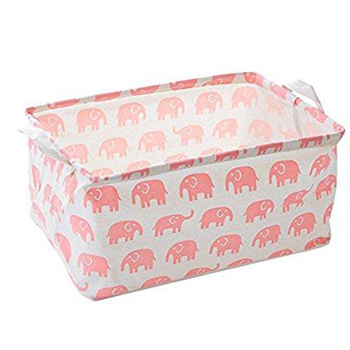 Canvas Toy Storage Cotton Storage Basket Nursery Hamper Laundry Basket Storage Bag by VC Life Pink Elephant