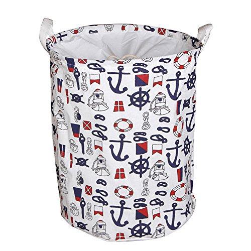 Yiuswoy Foldable Cotton Storage Basket Nursery Hamper Laundry Basket Storage Bag - Navy