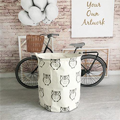 Yiuswoy Lightweight Cotton Laundry Basket Nursery Hamper Dirty Clothes Basket for College Dorms Kids Room Bathroom - Owl