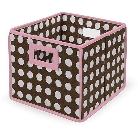 Badger Basket - Folding HamperStorage Bin Brown Polka Dots with Pink Trim