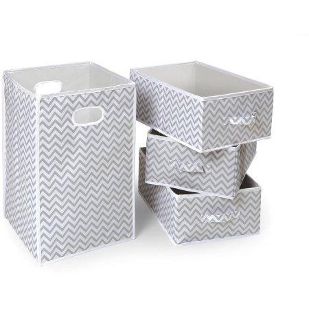 Badger Basket Folding Hamper and 3-Basket Set Gray Chevron