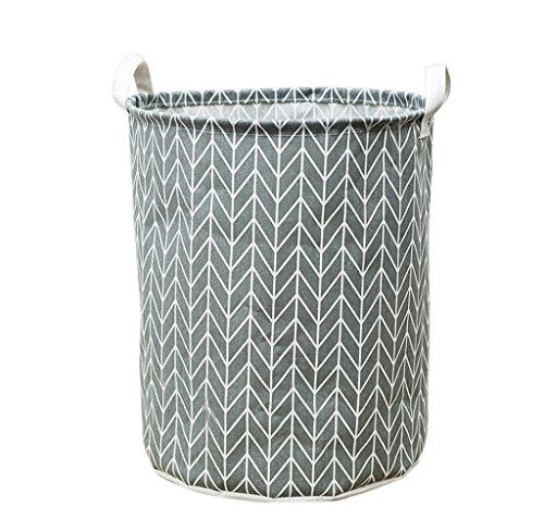 Rukiwa Waterproof Canvas Storage Box Laundry Clothes Storage Basket Folding Hamper C