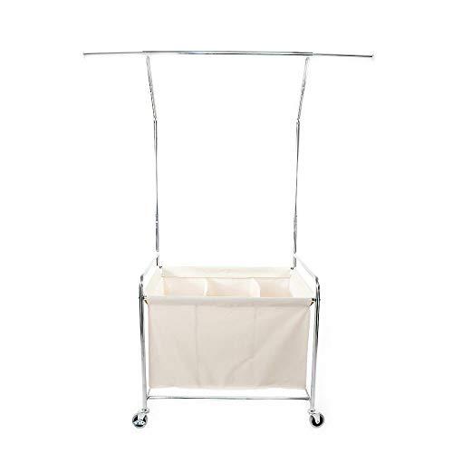Adumly Triple Laundry Sorter Rolling Hamper Cart Clothes Organizer Basket wHanger