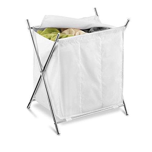 Honey-Can-Do Folding Triple Laundry Sorter WhiteChrome